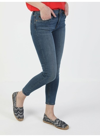 Colin's 759 Lara Orta Bel Dar Paça Super Slim Fit Mavi Kadın Jean Pantolon İndigo